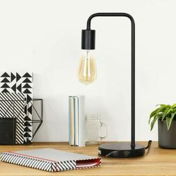 Simple Iron Wooden Modern Table Lamp Industrial Black Bedsid