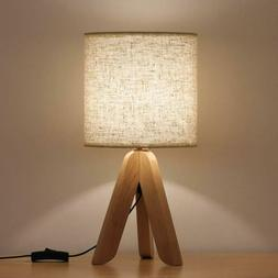 Small Bedside Table Lamp Wooden Tripod Nightstand Lamp with