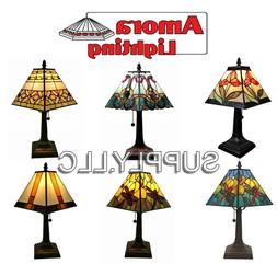 SMALL STAINED GLASS TABLE LAMP Handcrafted TIFFANY STYLE Des