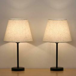 Set of 2 Modern Table Reading Lamp Desk Light Black Bedside