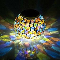 Solar Glass Ball Table Light Color Changing Mosaic Table Nig