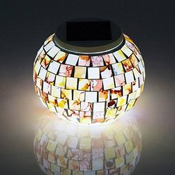 Dream Loom Solar Powered Mosaic Glass Ball Color Changing LE