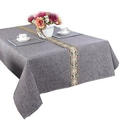 HOMEE Solid color cotton and linen tablecloth lace dining ta