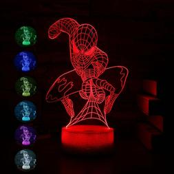 Spiderman Night Light Remote Control Led 3D Illusion Table L