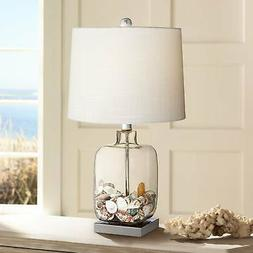 "Square Glass 21 3/4"" High Fillable Table Lamp"