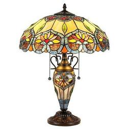 Stained Glass Chloe Lighting 3 Light Double Lit Table Lamp C