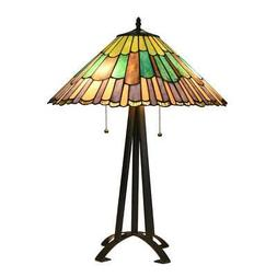 Stained Glass Geometric Style 3 Light Table Lamp Chloe Light
