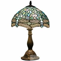 stained glass tiffany style red dragonfly table