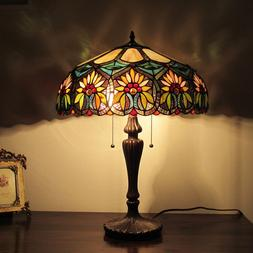 Tiffany Style Table Lamp Stained Glass Vintage Handmade Nigh