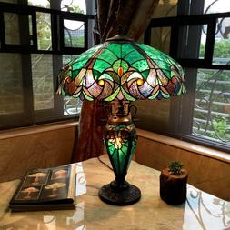 Tiffany Style Table Lamp Stained Glass Vintage Victorian Nig
