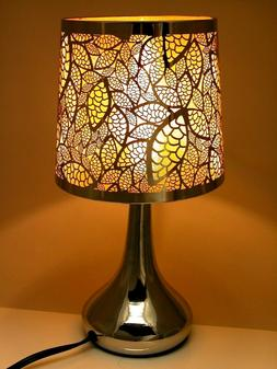 """Stainless Steel Table Touch Lamp, Leaf 12.6""""  Silver Color S"""