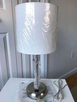 LIMELIGHTS Stick Table Lamp w/ Charging Outlet White Fabric