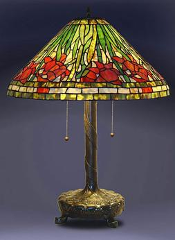 """Tiffany Style Stained Glass Daffodil Table Lamp 18"""" Shade Ne"""