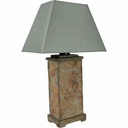 Sunnydaze Indoor/Outdoor Natural Slate Table Lamp, Weather R