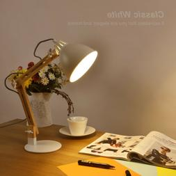 Swing Arm Wood Desk Table Lamp Integrated LED Table Light Wh