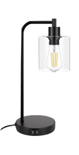 Zeefo T25 Glass Shade Table Lamp W/ USB Charge Ports Touch C