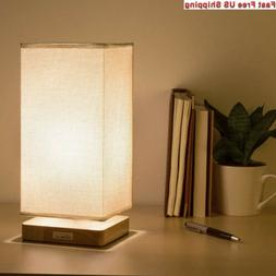 HAITRAL Table Lamp Bedside Desk with Fabric Shade Wood Base