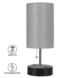 Table Lamp, Bedside Nightstand Lamps With Dual USB Port & Tw
