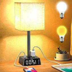 Table Lamp - Bedside Table Lamps with 4 USB Ports and Power