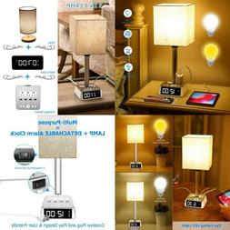Table Lamp - Bedside Table Lamps With 4 Usb Ports And Ac Pow