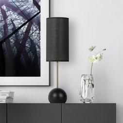 Table Lamp Modern Light Black Lampshade Round Base Portable