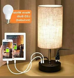 Table Lamp With Dual USB Port And Power Outlet Round 5.9 x 5