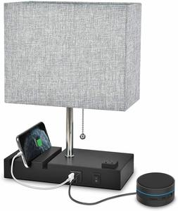 Table Lamp with USB Port Bedside lamp for Bedroom Warm White