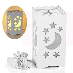 Pandawill Table Light White Art Light with Moon and Star Sha