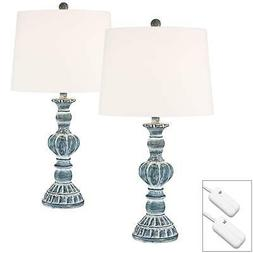Tanya Blue Wash Table Lamps Set of 2 with Table Top Dimmers