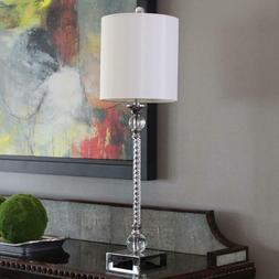 Decor Therapy Camilla 30 in. Chrome Table Lamp with Faux Sil
