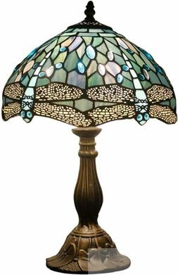 Tiffany Lamp 18 Inch Tall Sea Blue Stained Glass End Bedside