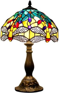 Tiffany Lamp Sea Blue Yellow Stained Glass and Crystal Bead