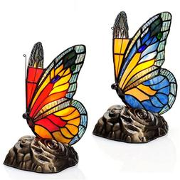 River of Goods Tiffany Style Stained Glass Butterfly Touch A