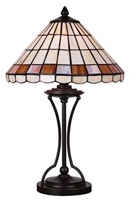 Tiffany Style Stained Glass Table Lamp Decorative Cream Beig