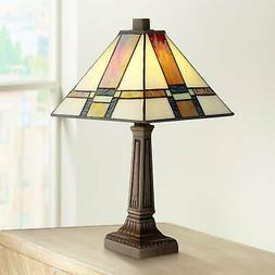 "Tiffany Style Accent Table Lamp 14 1/4"" LED Stained Glass fo"