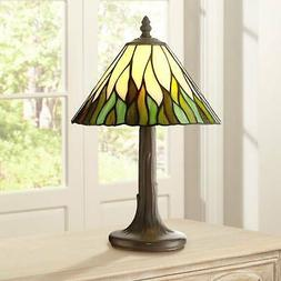 "Tiffany Style Accent Table Lamp 14 1/2"" Brown Tree Stained G"