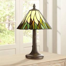 """Tiffany Style Accent Table Lamp 14 1/2"""" Brown Tree Stained G"""