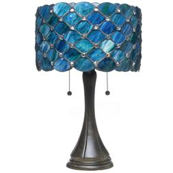 "Tiffany Style Blue Jeweled Table Lamp 14"" Shade"