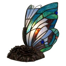 Tiffany Style Butterfly Table Desk Lamp Stained Glass LED Bu