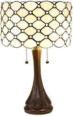 "Tiffany Style Contemporary Jeweled Table Lamp 16"" Shade"