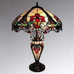 Tiffany Style Traditional Victorian 2 Light Table Lamp Red A
