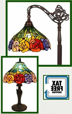 Tiffany Style Floor Table Lamp Rose Flower Shade Glass Vinta