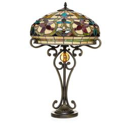 "Tiffany Style Handcrafted Floral Table Lamp 16"" Shade"