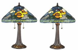 Tiffany Style Handcrafted Stained Glass Floral Table Lamp Se