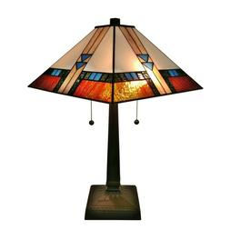 Tiffany Style Square Mission Table Lamp Brown Tan Yellow Sta