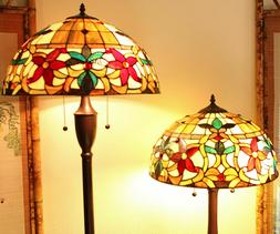 Tiffany Style Stained Glass Floral Table and Floor Lamp Set