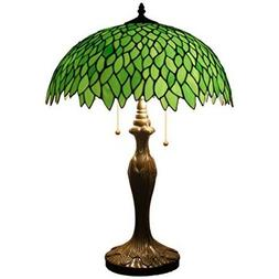 """Tiffany Style Table Lamp Light Stained Glass 24"""" Tall Vintag"""