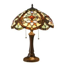 Tiffany Style Table Lamp Victorian Double Lit Desk Lamp Stai