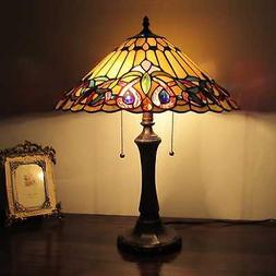 Tiffany Style Victorian 2 light Table Lamp vintage stained g