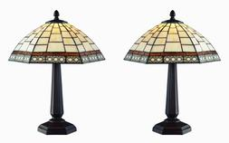 "Tiffany Style White Antique Table Lamp Set Handcrafted 12"" S"
